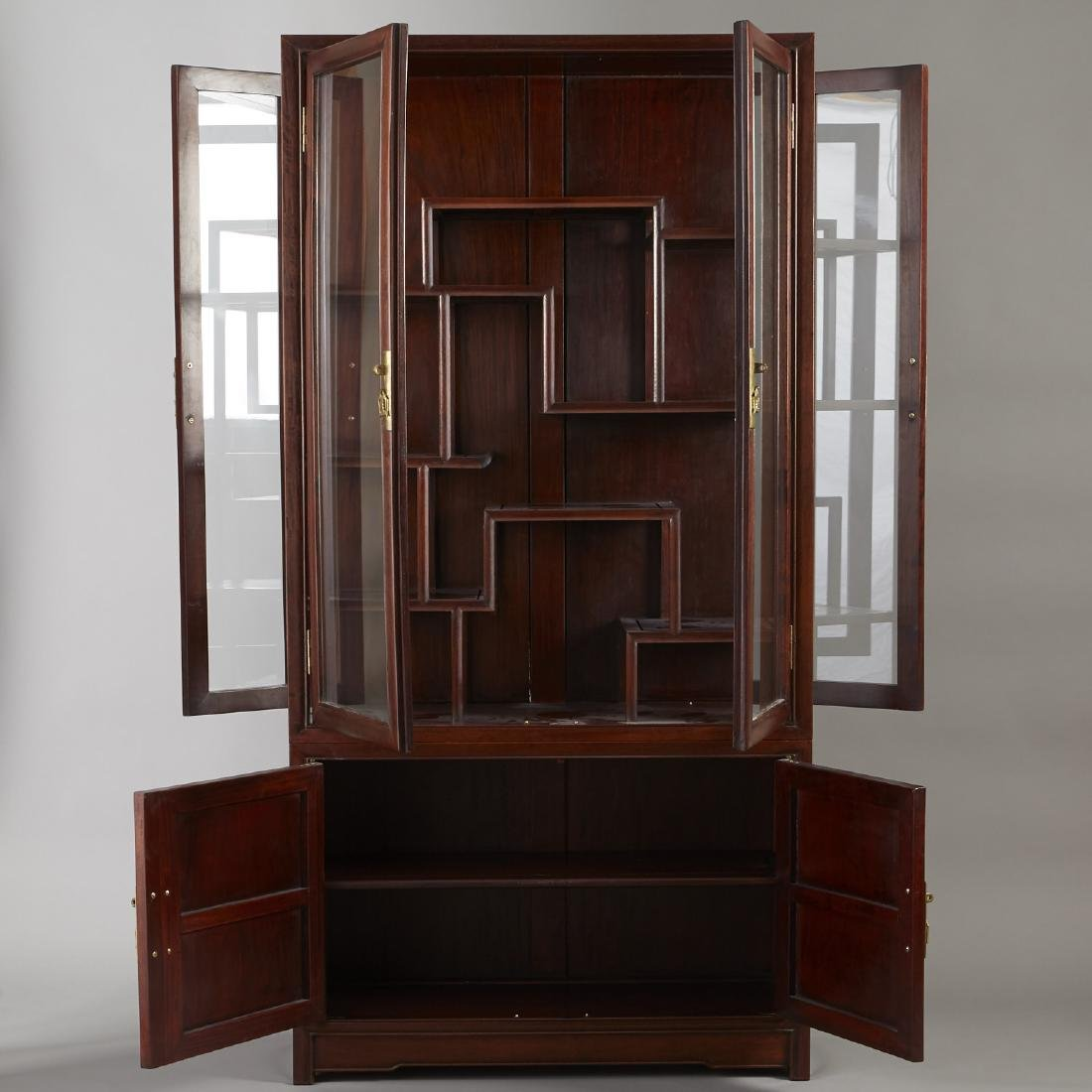 Large Chinese Teak Display Cabinet - 3