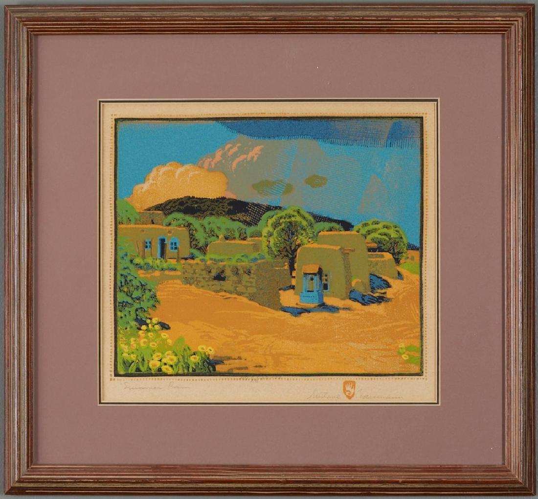Gustave Baumann Summer Rain Color Woodcut