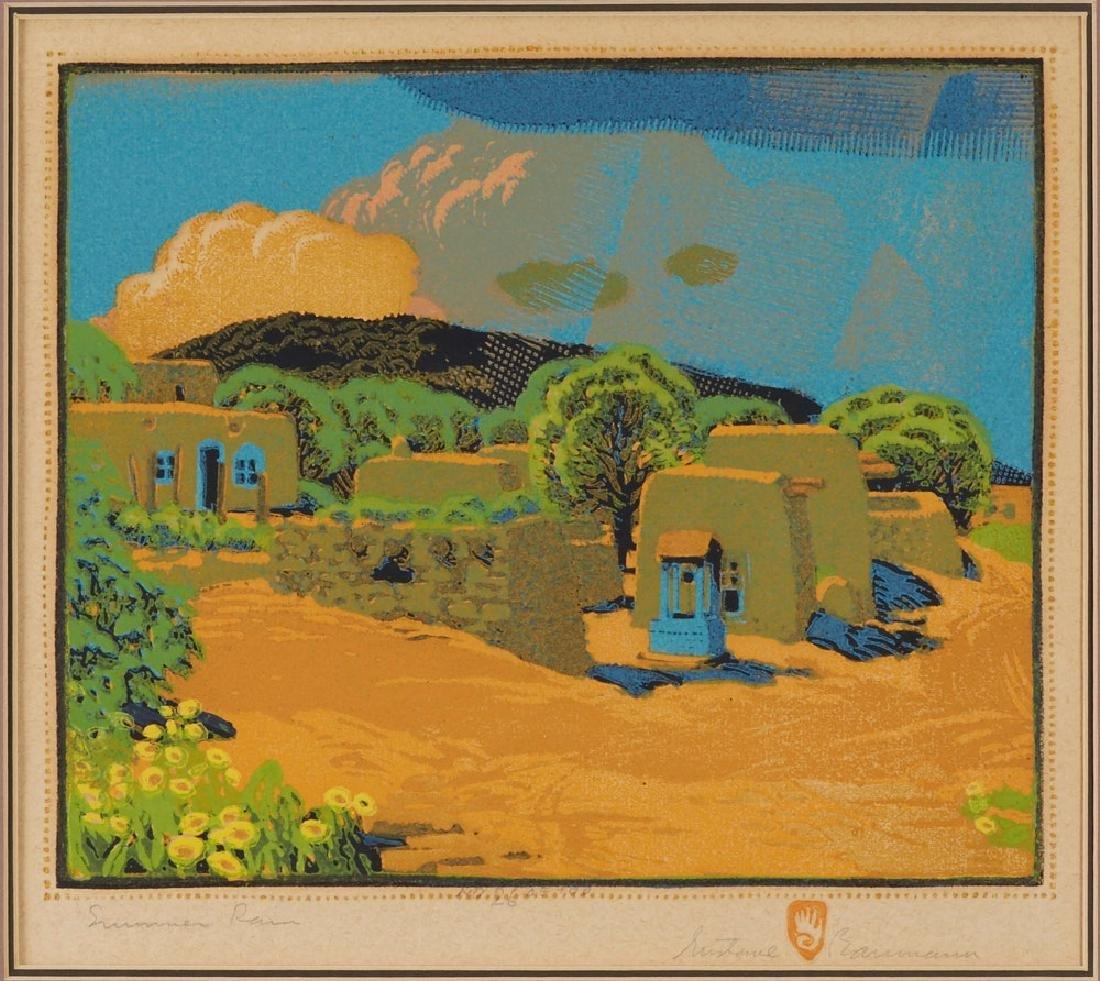 Gustave Baumann Summer Rain Color Woodcut - 2