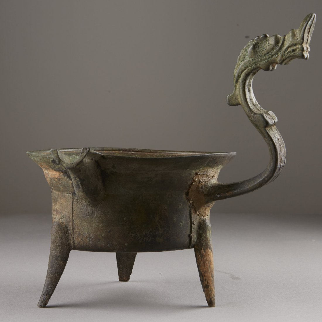 Chinese Bronze Han Dynasty Tripod Cooking Vessel