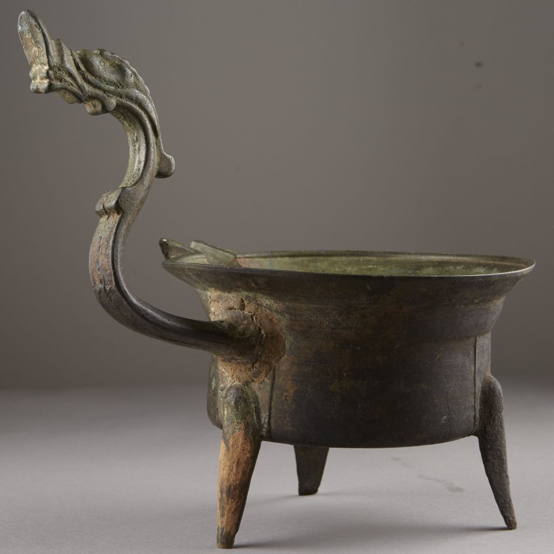 Chinese Bronze Han Dynasty Tripod Cooking Vessel - 3