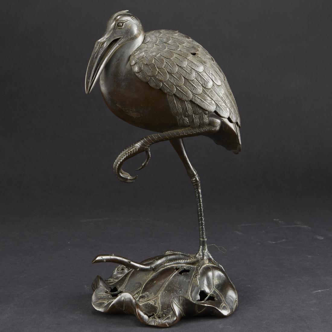 Japanese Meiji Bronze Censer Crane on Lilly Pad