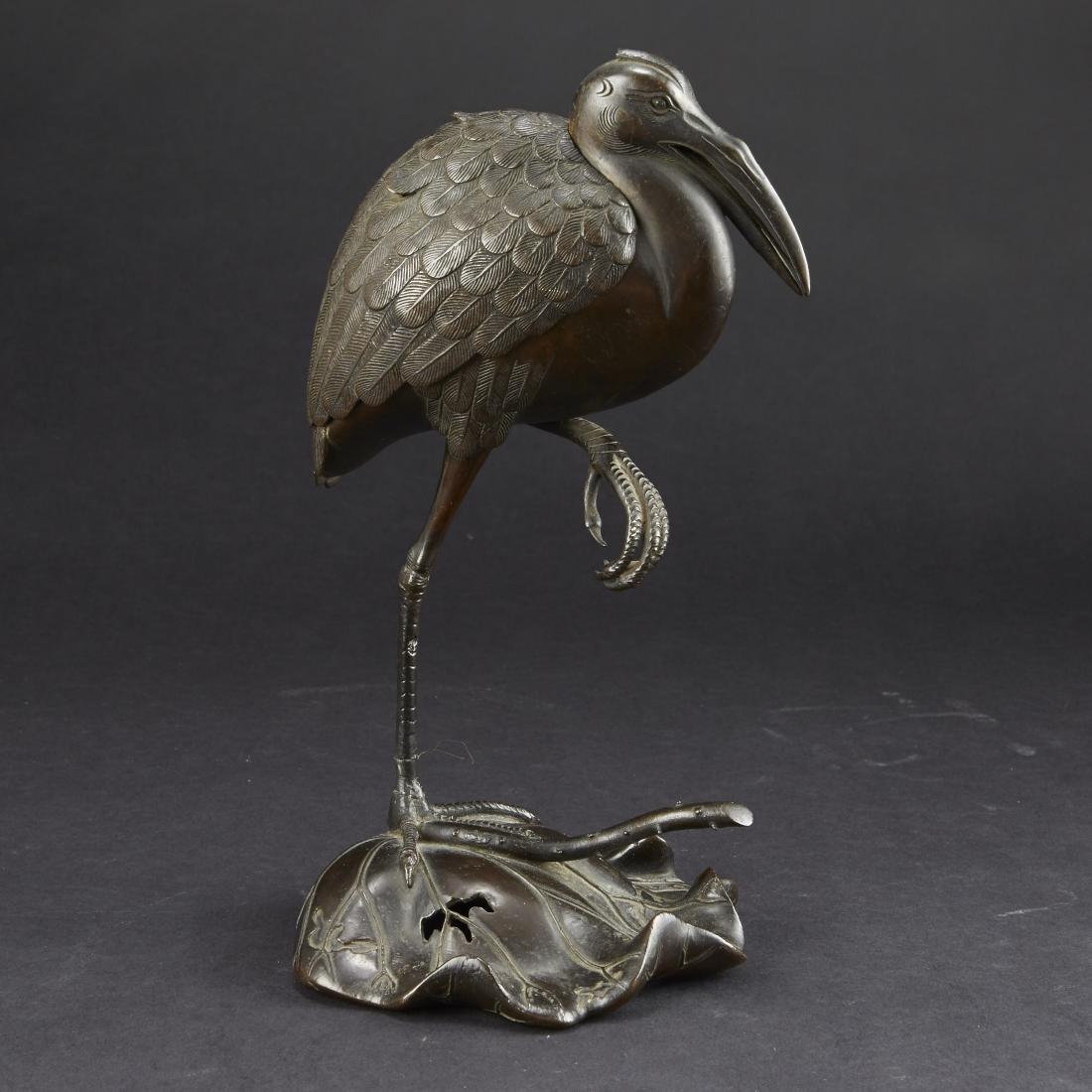 Japanese Meiji Bronze Censer Crane on Lilly Pad - 2