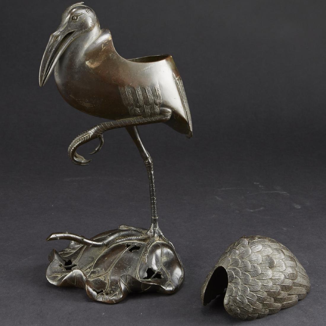 Japanese Meiji Bronze Censer Crane on Lilly Pad - 3