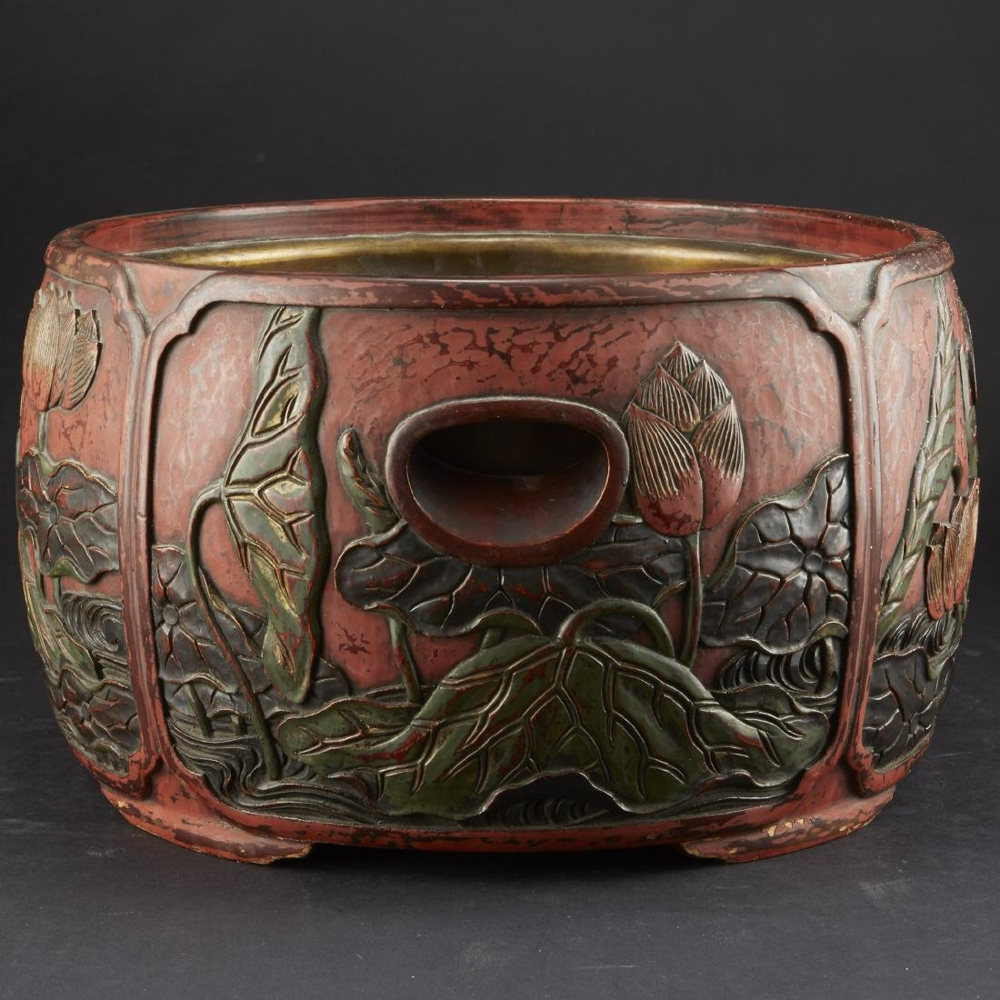 Carved and Lacquered Japanese Hibachi along with other