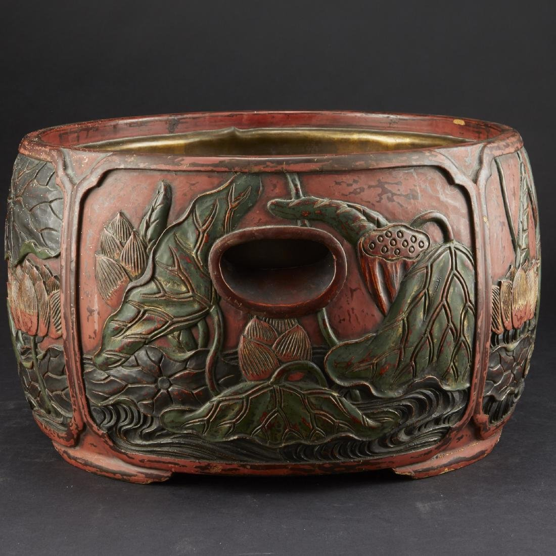 Carved and Lacquered Japanese Hibachi along with other - 3