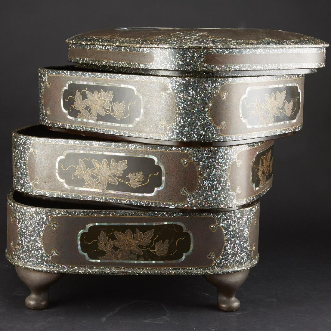 Carved and Lacquered Japanese Hibachi along with other - 7