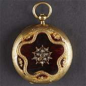 Golay 18K Gold Pocket Watch Enamel