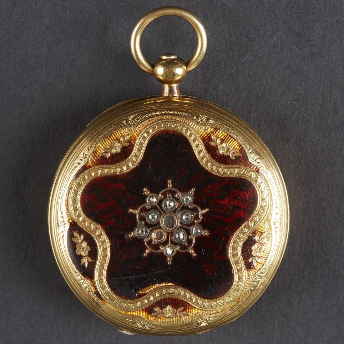 Golay 18K Gold Pocket Watch Enamel