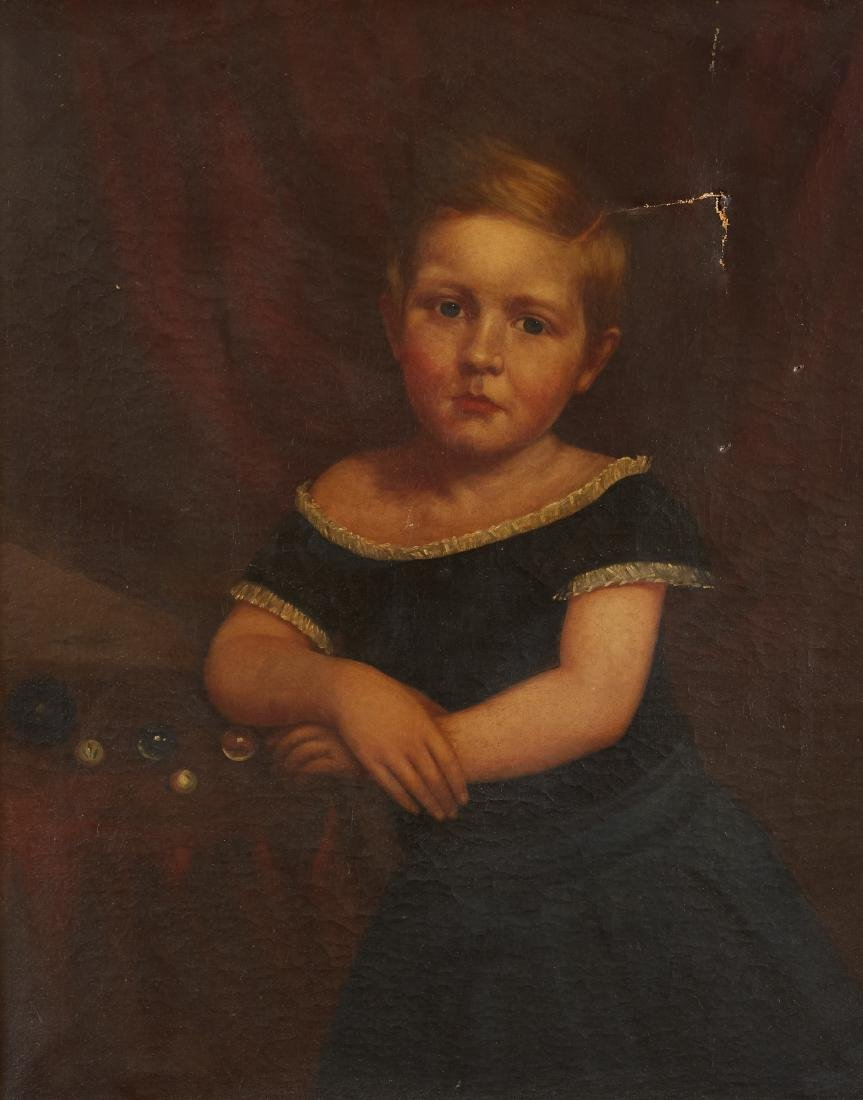 19th Century American School Portrait of a Girl