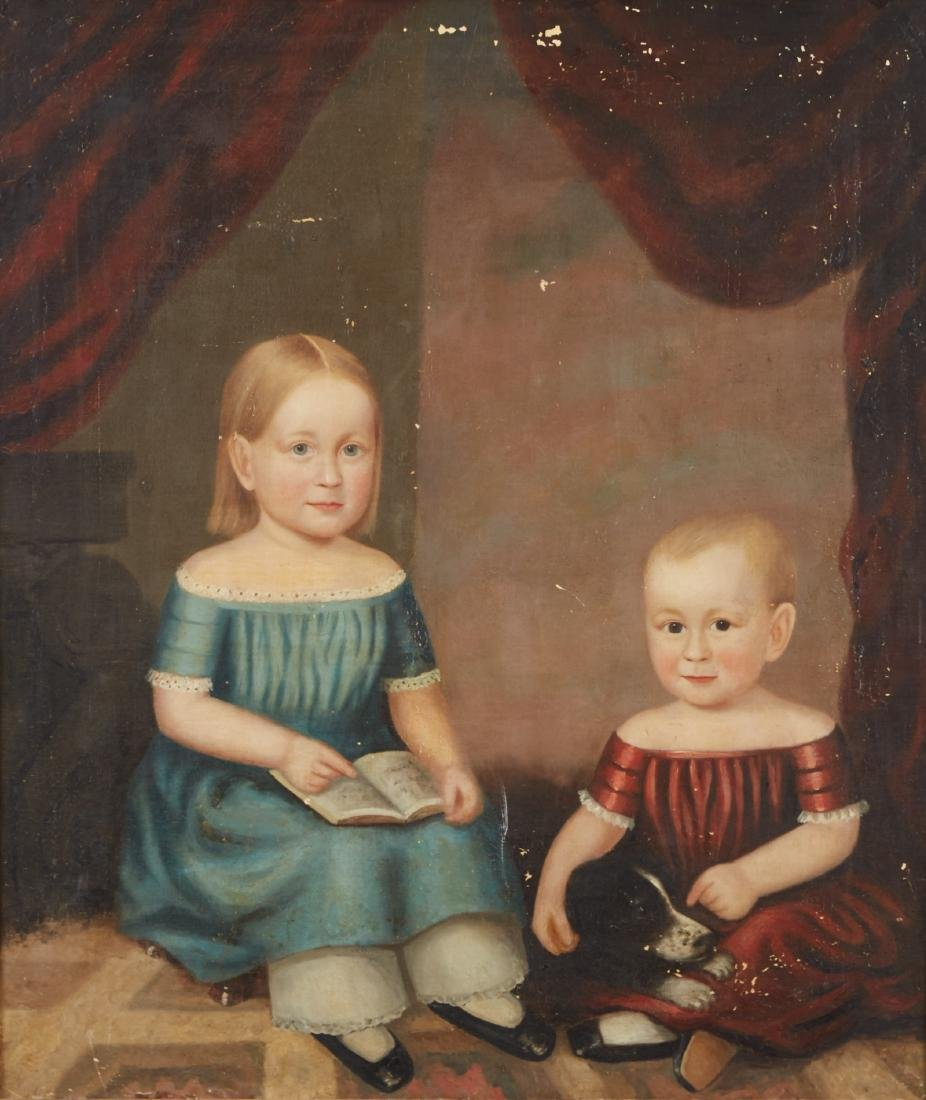 19th Century American School Folk Art Portrait Children