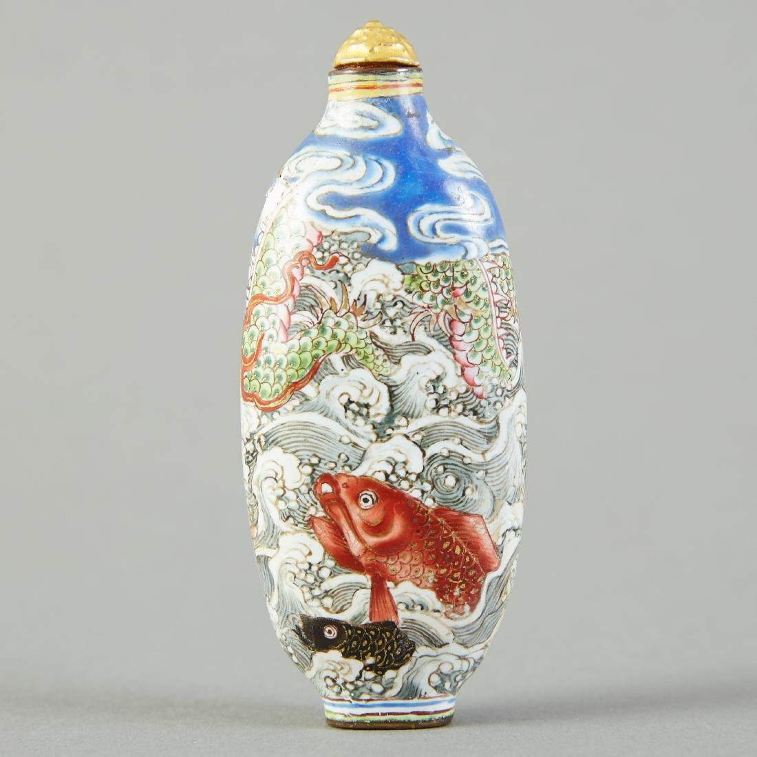 19th C. Chinese Qing Enameled Snuff Bottle Leaping Carp