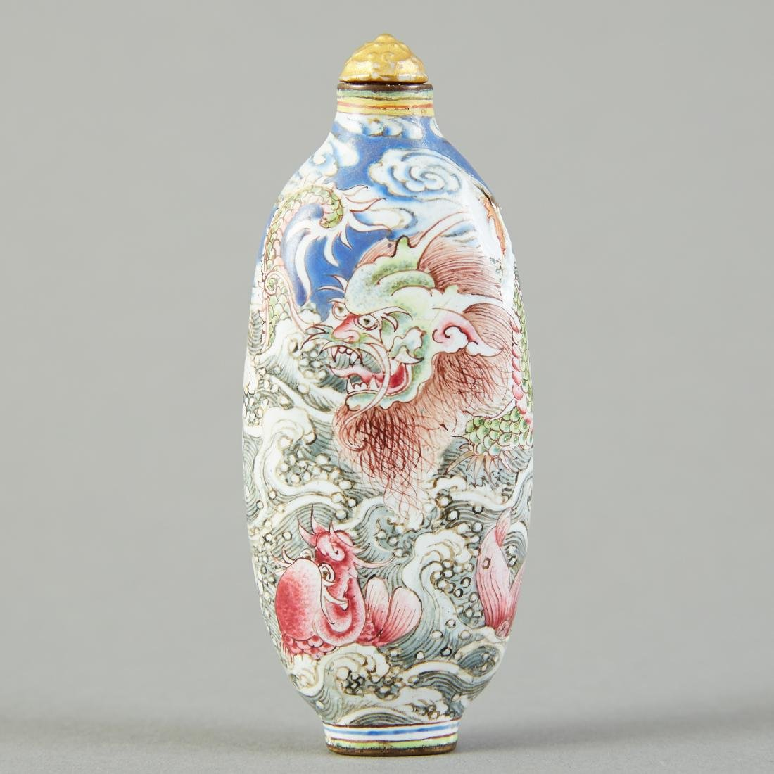 19th C. Chinese Qing Enameled Snuff Bottle Leaping Carp - 3