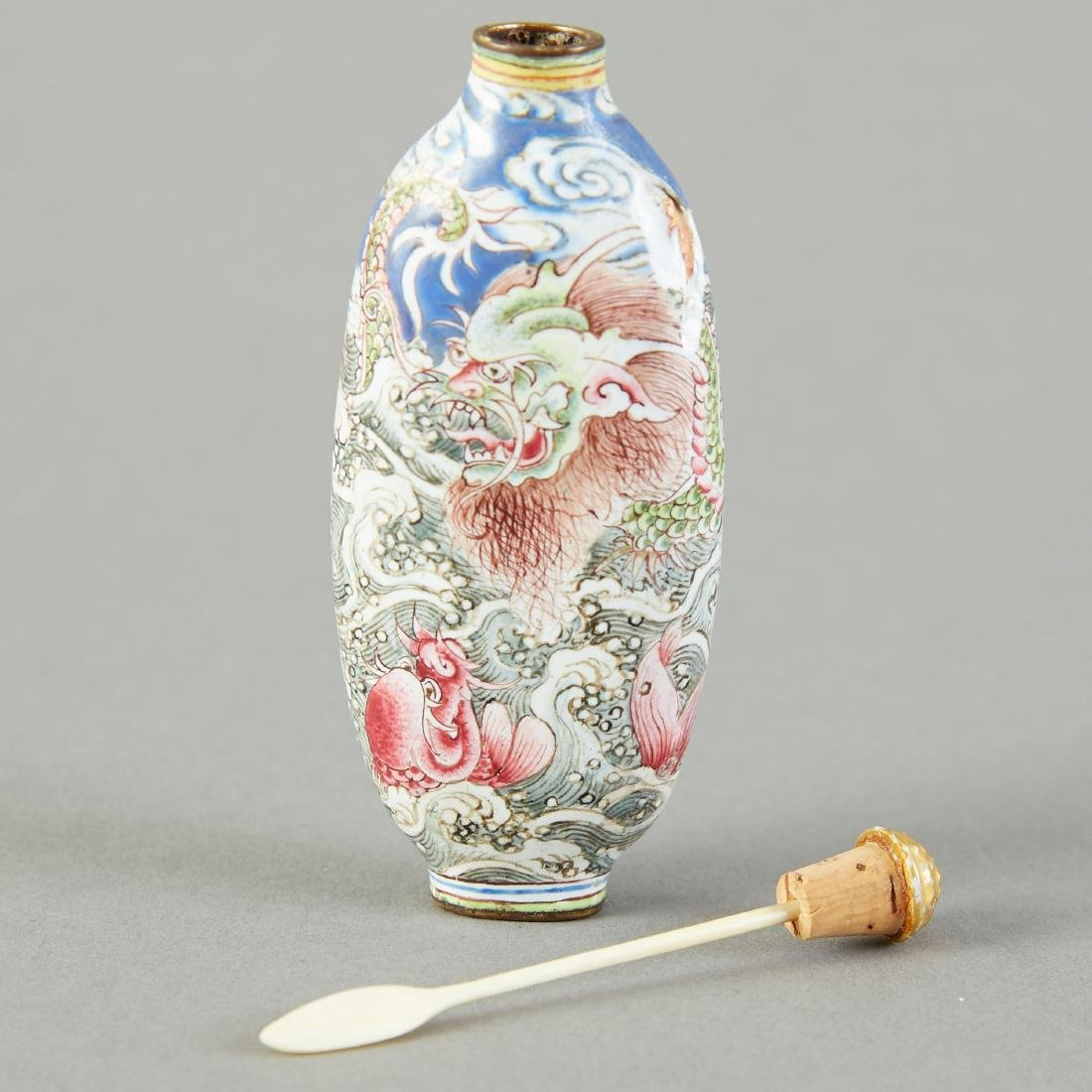 19th C. Chinese Qing Enameled Snuff Bottle Leaping Carp - 5