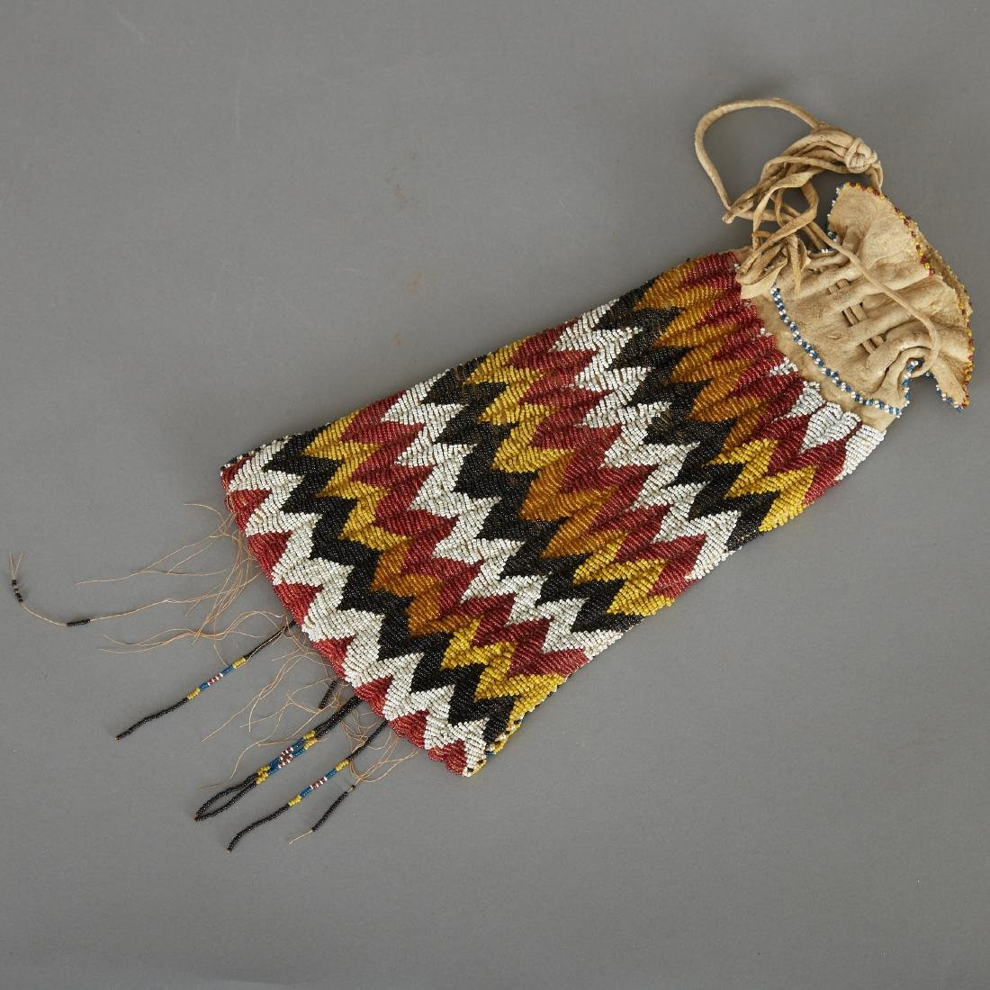 Apache Beaded Pipe Bag Early 20th c. - 2