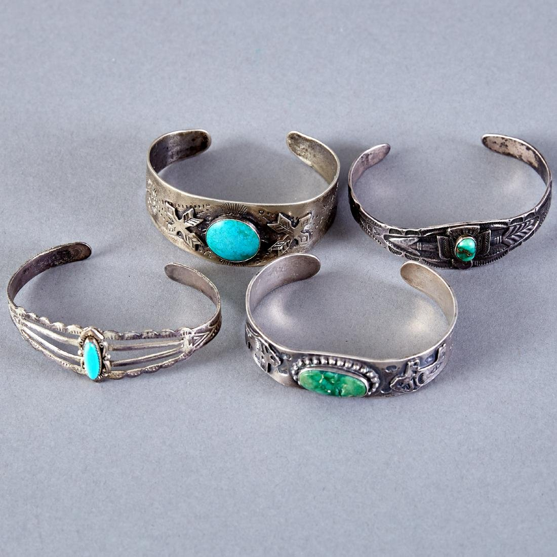 4 Native American  Silver Cuff Bracelets Navajo Fred