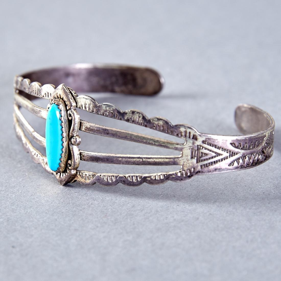 4 Native American  Silver Cuff Bracelets Navajo Fred - 2