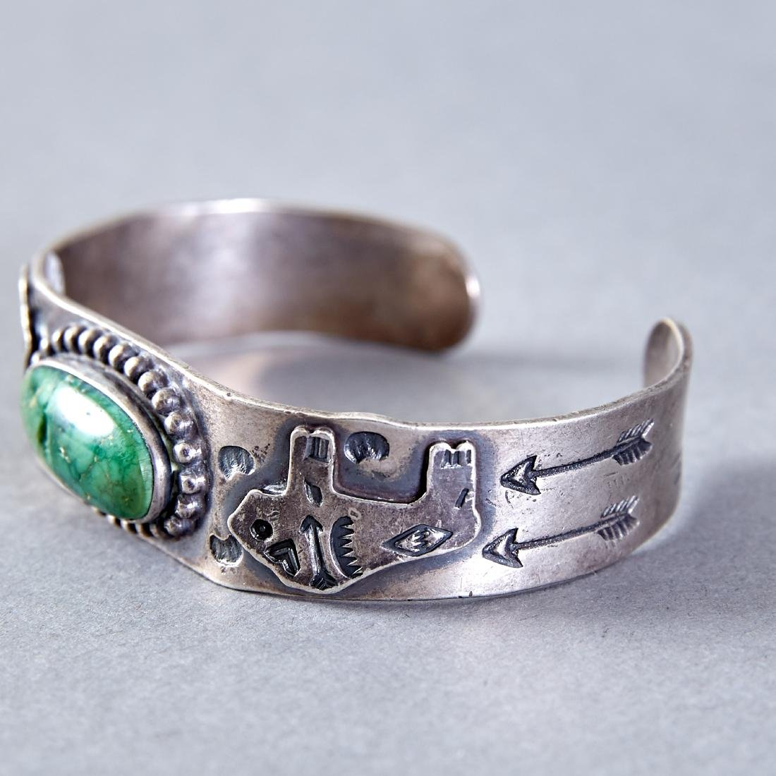 4 Native American  Silver Cuff Bracelets Navajo Fred - 3