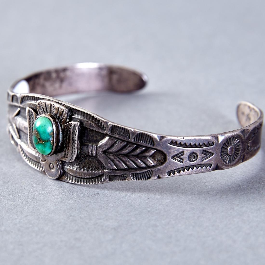 4 Native American  Silver Cuff Bracelets Navajo Fred - 4