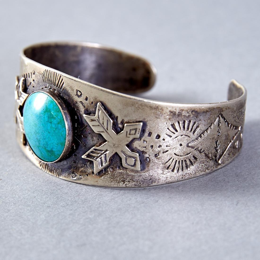 4 Native American  Silver Cuff Bracelets Navajo Fred - 5