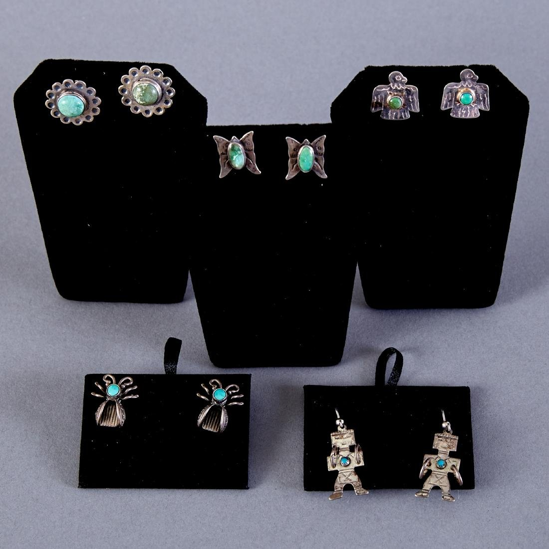 5 Pair Navajo Sterling and Turquoise Earrings Fred