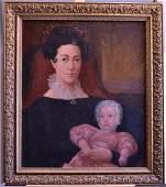Pair American School Folk Art Portraits Stebbins