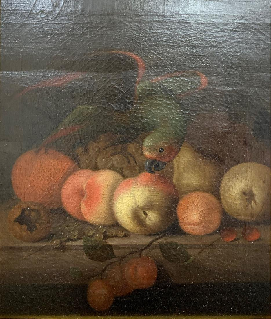 Continental School Still Life Parrot and Fruit Oi