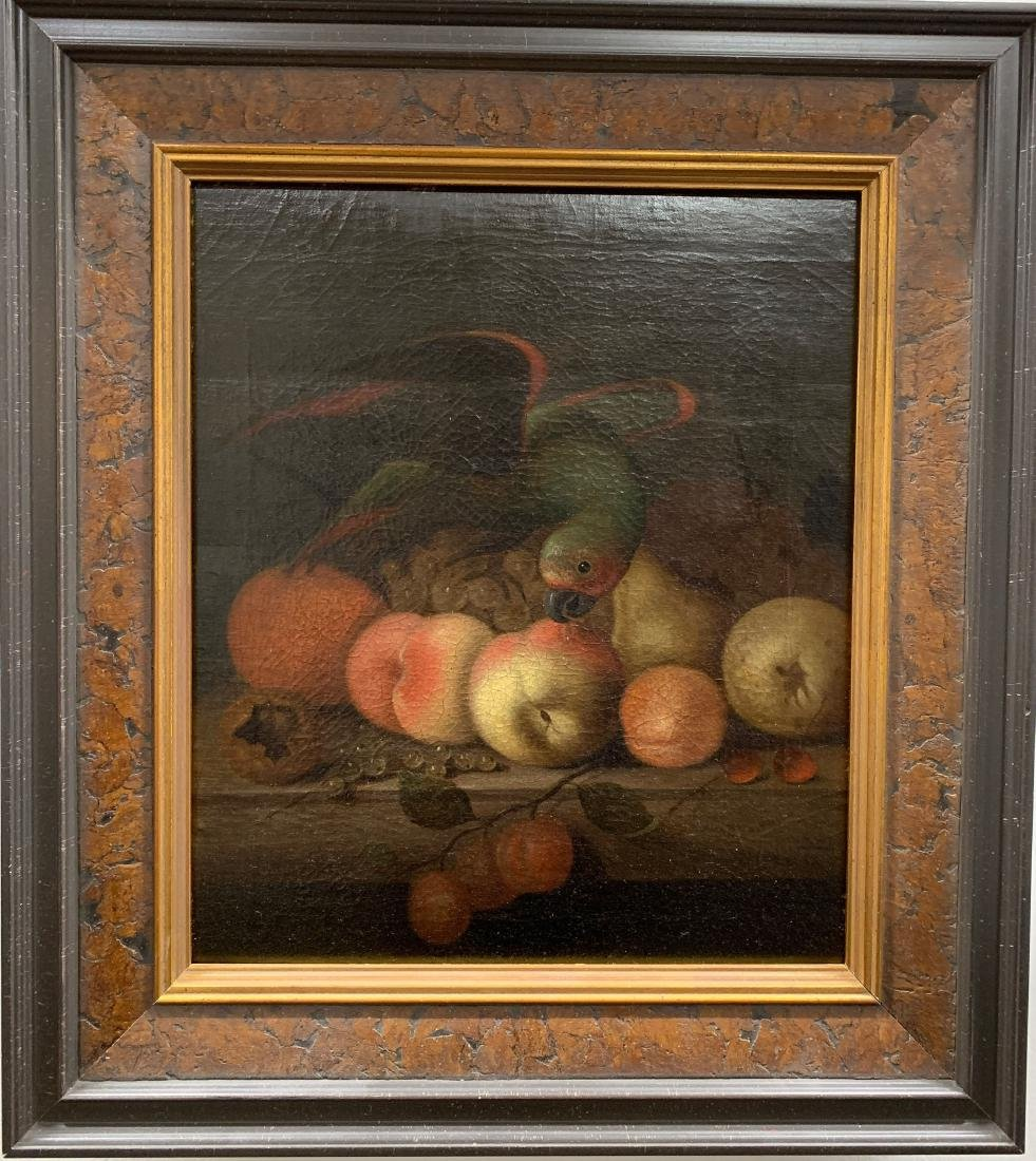 Continental School Still Life Parrot and Fruit Oi - 2