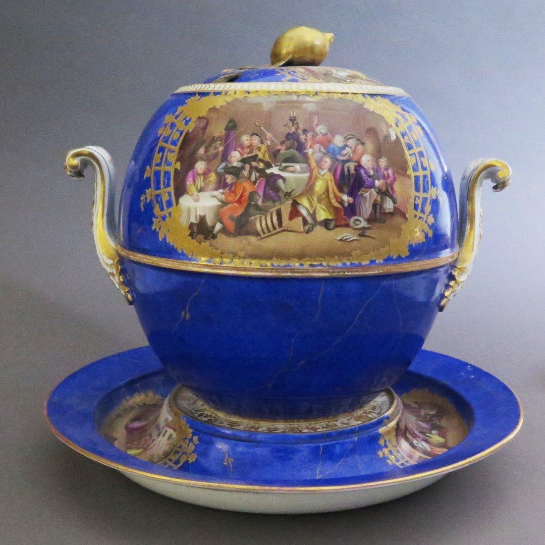Meissen Porcelain Lidded Punch Bowl and Underplat