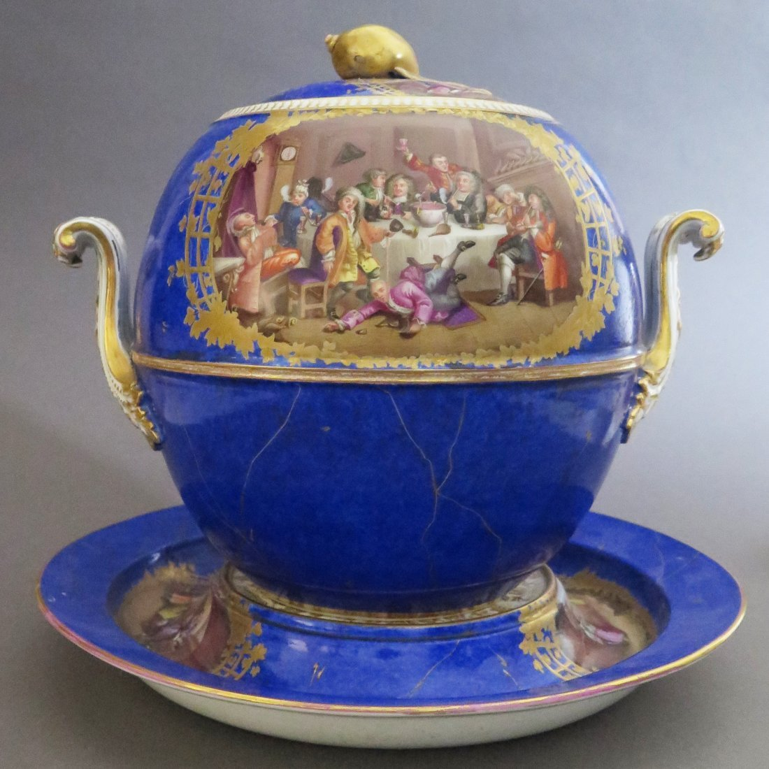 Meissen Porcelain Lidded Punch Bowl and Underplat - 3