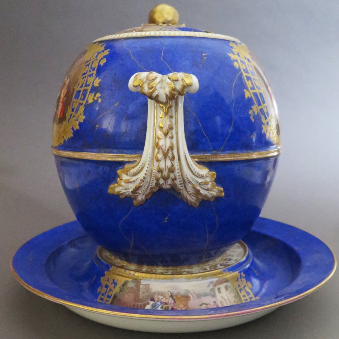 Meissen Porcelain Lidded Punch Bowl and Underplat - 4