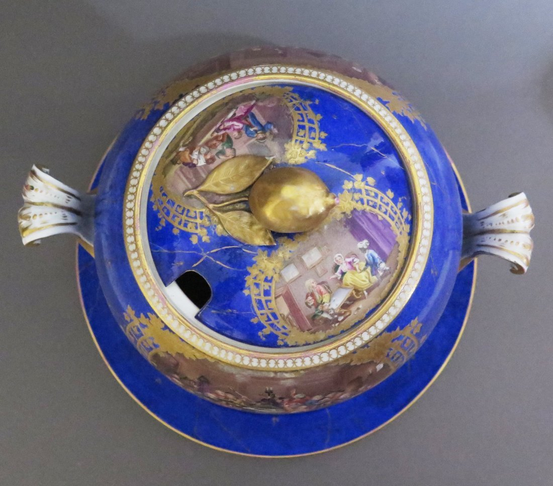 Meissen Porcelain Lidded Punch Bowl and Underplat - 5