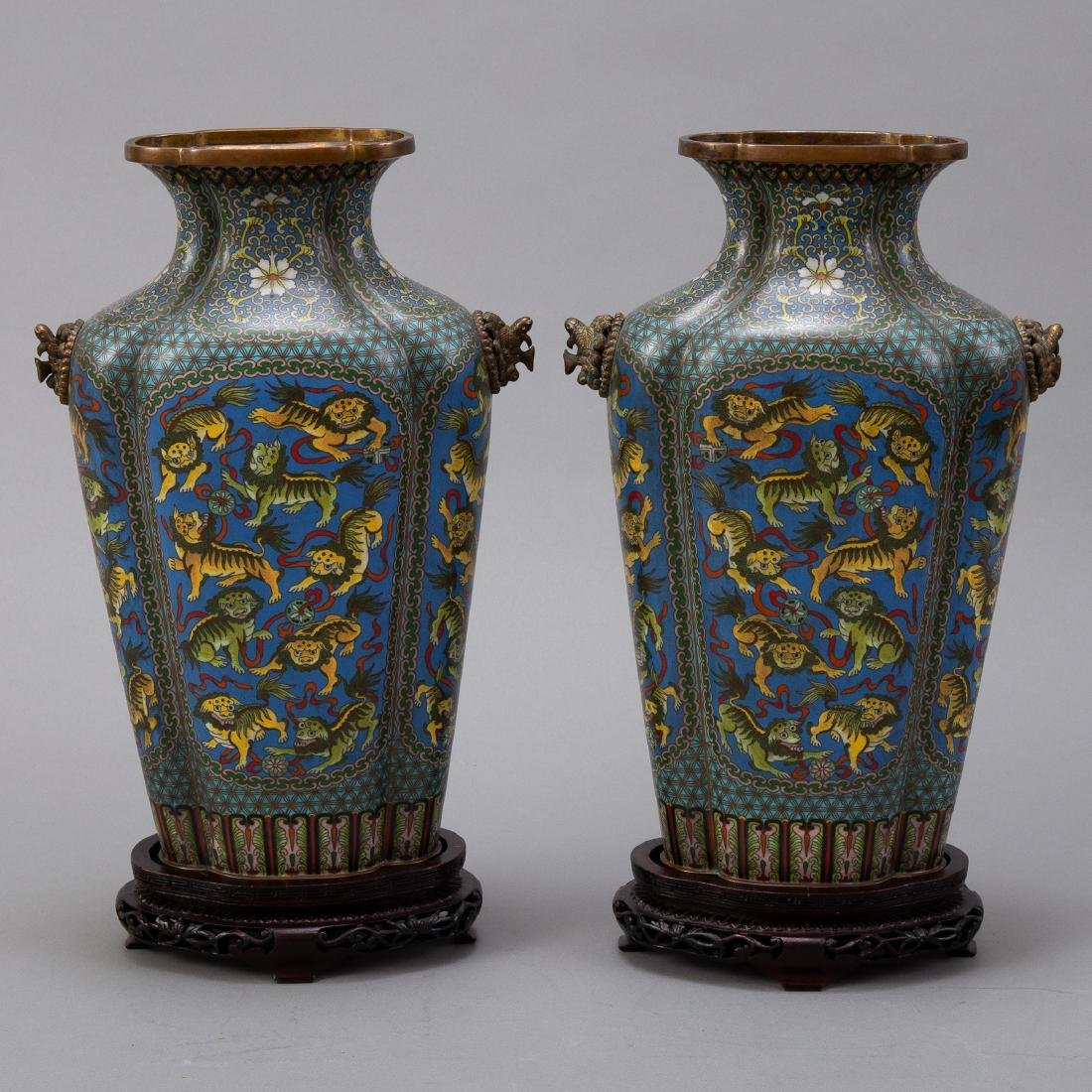 Pr 20th c. Japanese Cloisonne Vases with Foo Dogs