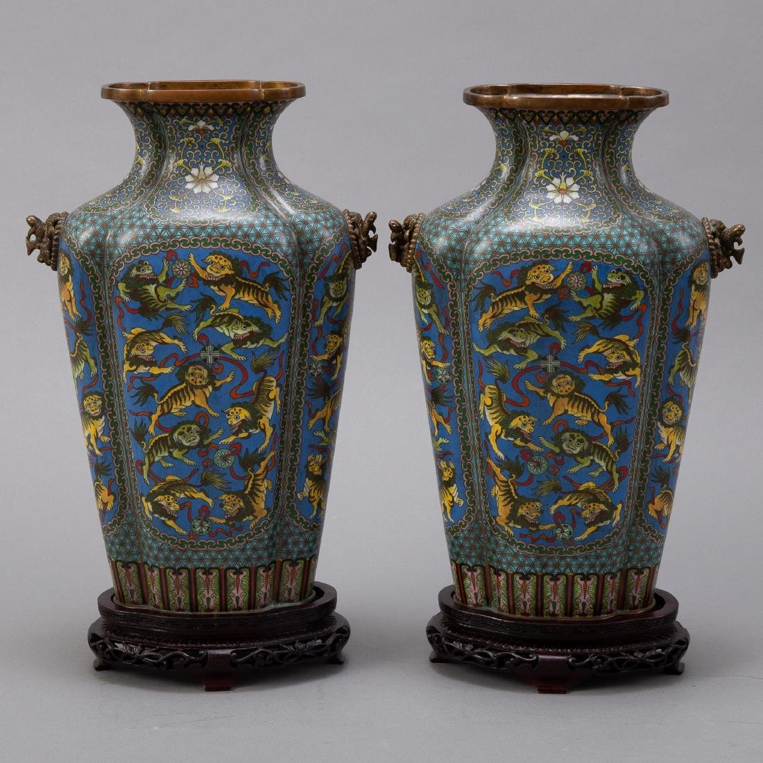 Pr 20th c. Japanese Cloisonne Vases with Foo Dogs - 3