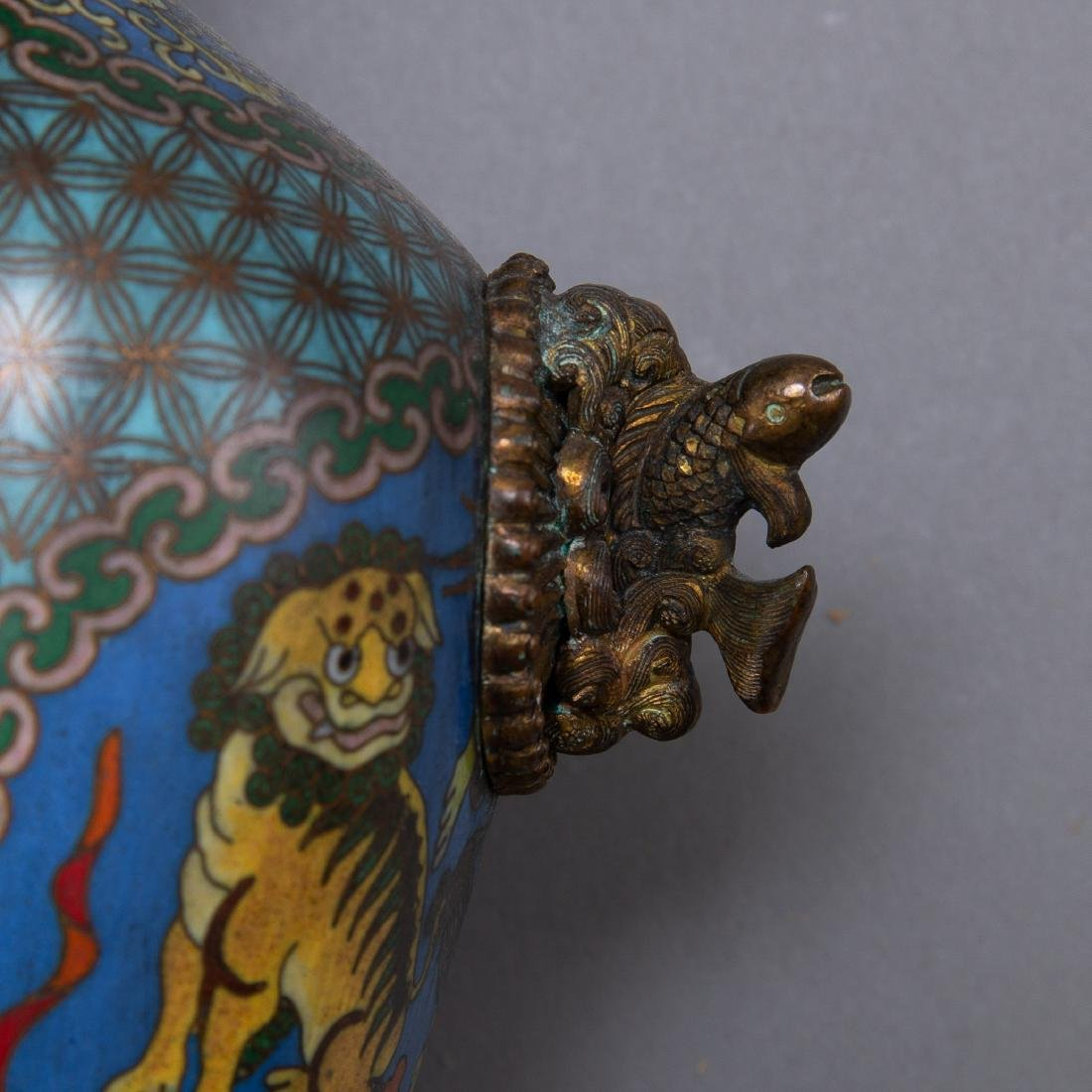 Pr 20th c. Japanese Cloisonne Vases with Foo Dogs - 6