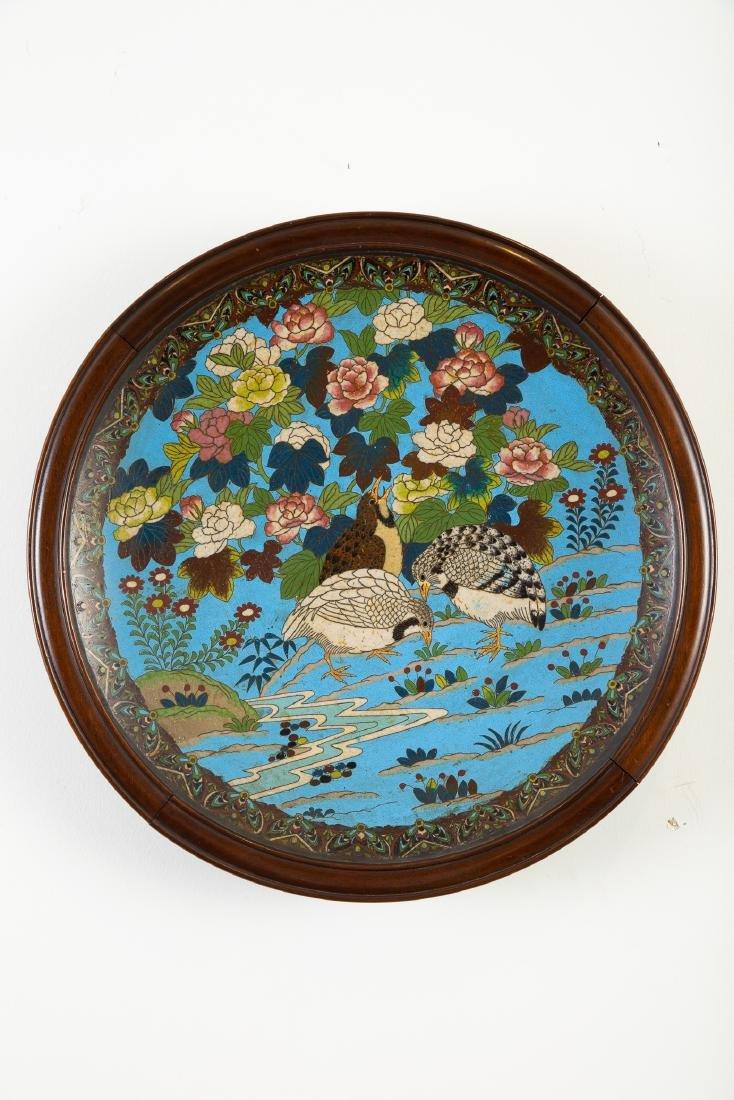 Japanese Meiji Cloisonne Tray with Flowers Birds