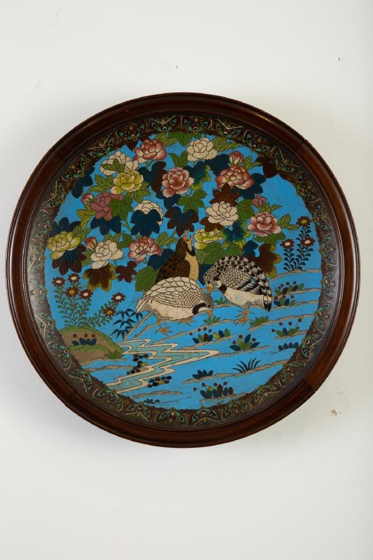 Japanese Meiji Cloisonne Tray with Flowers Birds - 2
