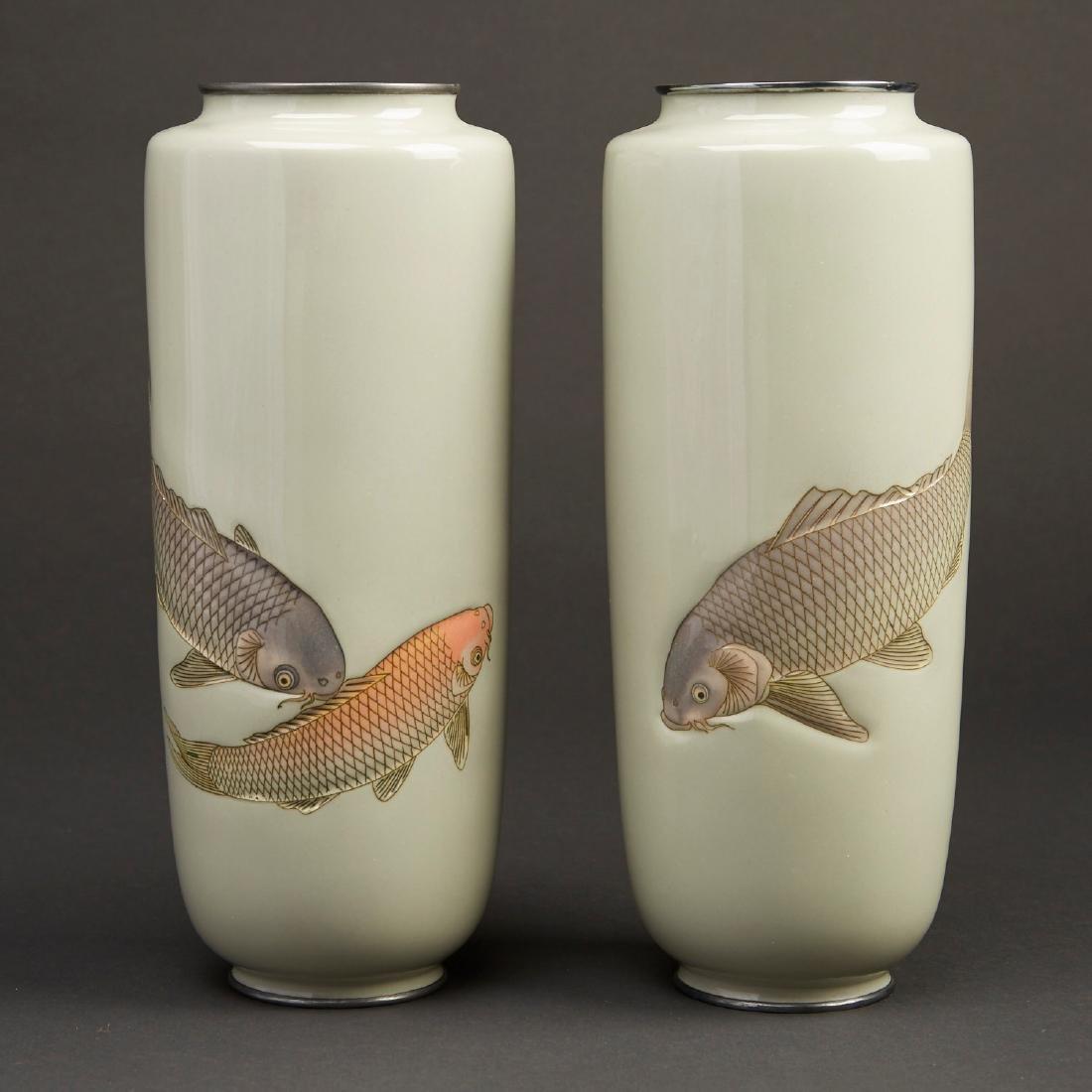 Hattori Tadasaburo Japanese Cloisonne Carp Vases