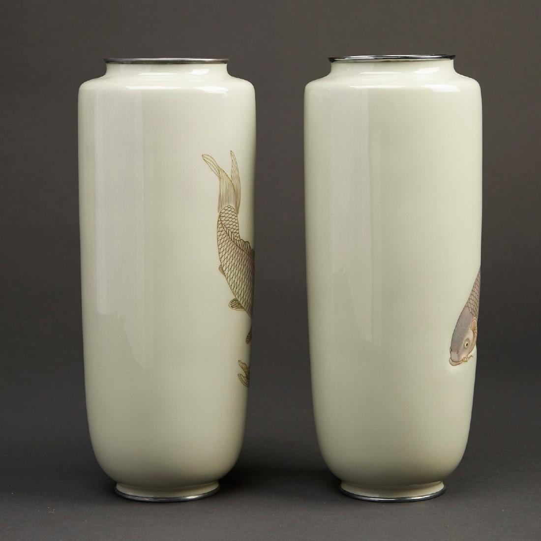 Hattori Tadasaburo Japanese Cloisonne Carp Vases - 2