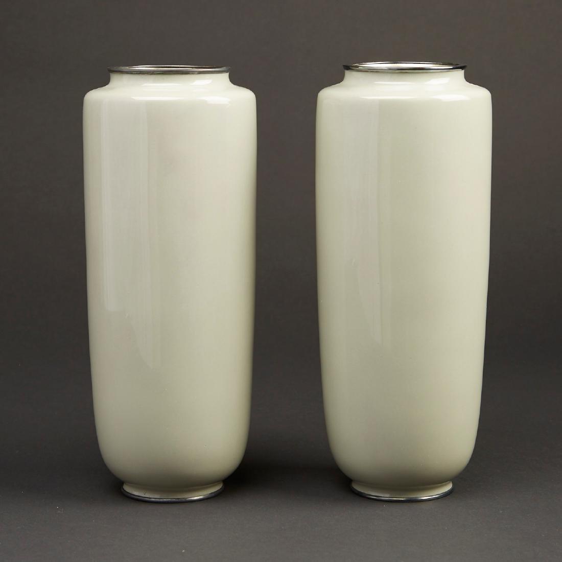 Hattori Tadasaburo Japanese Cloisonne Carp Vases - 3