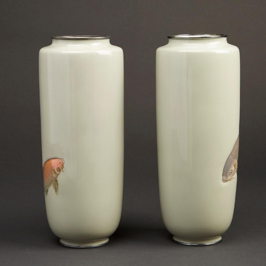Hattori Tadasaburo Japanese Cloisonne Carp Vases - 4