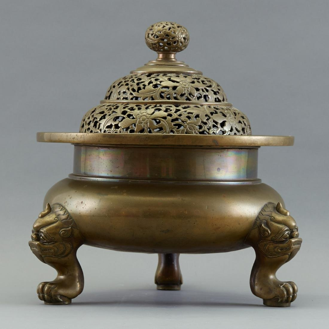 19th c. Chinese Covered Bronze Brazier or Censer