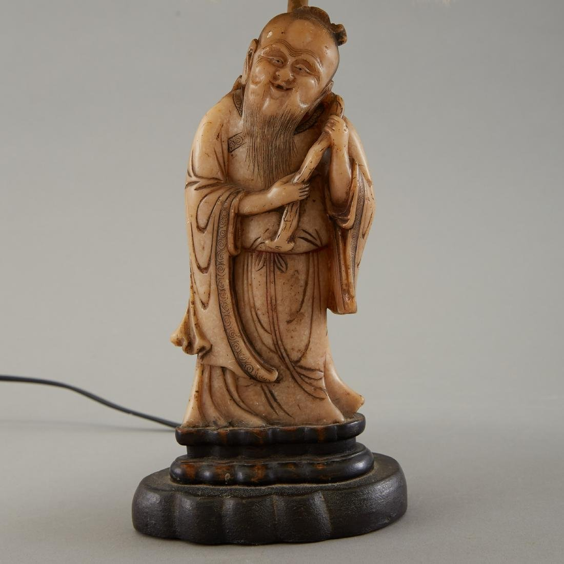 19th c. Chinese Carved Soapstone Figure as Lamp