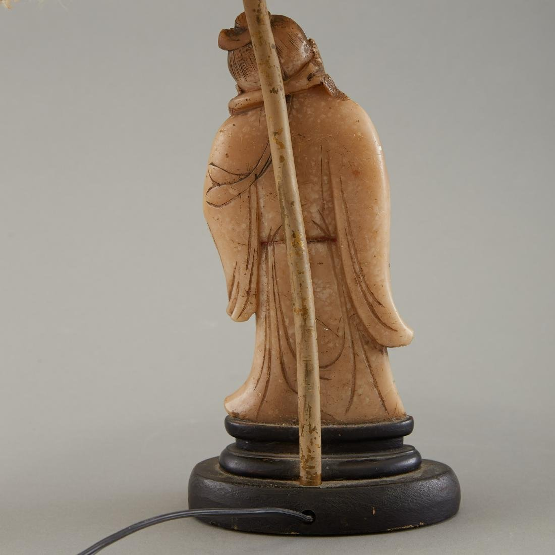 19th c. Chinese Carved Soapstone Figure as Lamp - 2
