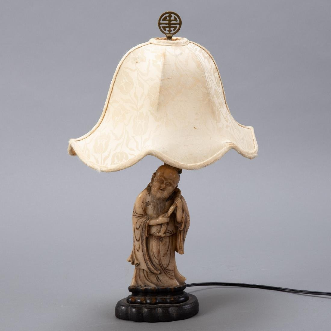 19th c. Chinese Carved Soapstone Figure as Lamp - 3