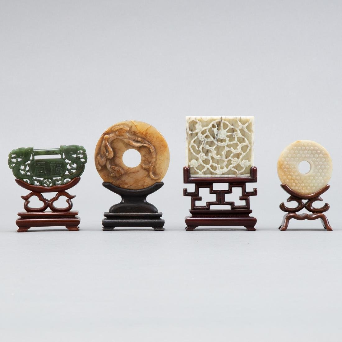 Group of 4 Chinese Jade Carvings on stands