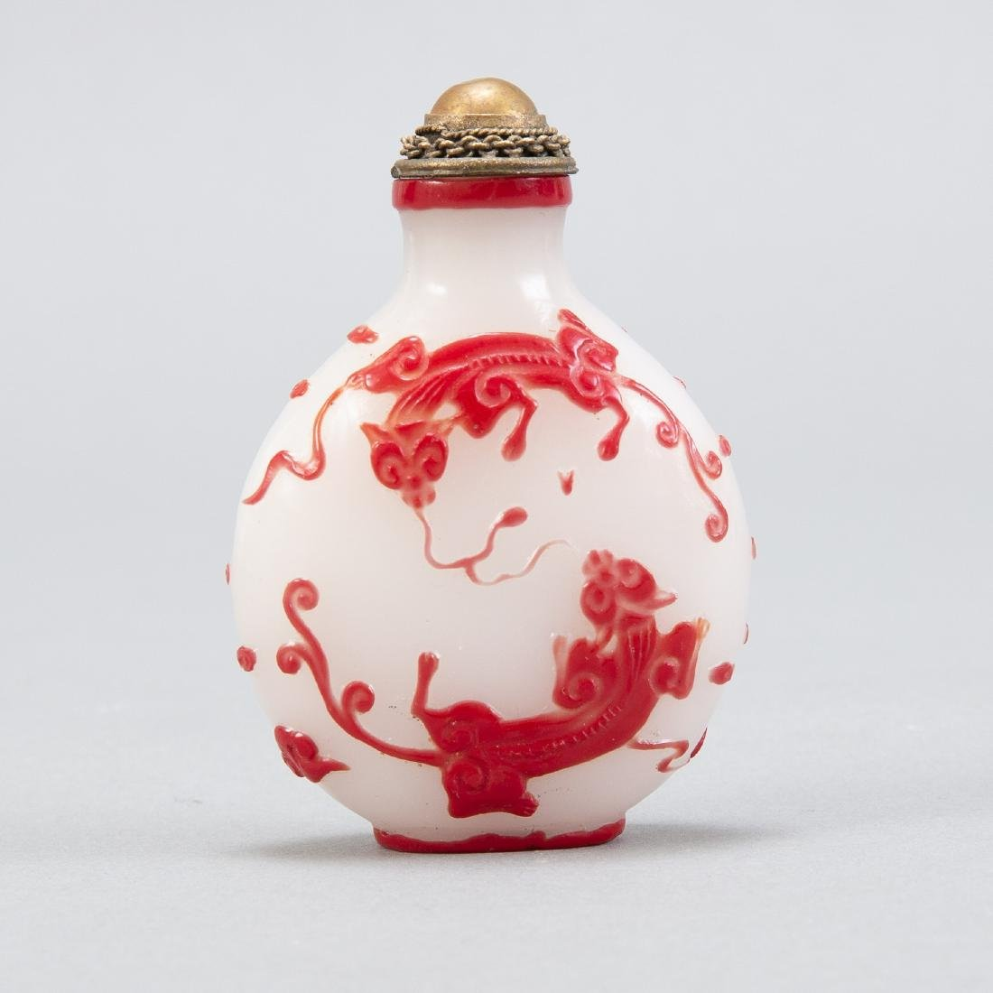 19th c. Chinese Glass Overlay Snuff Bottle - 3