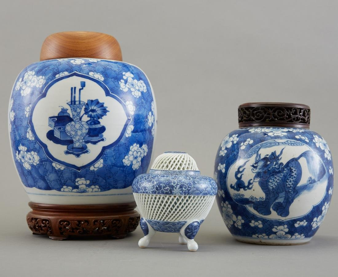 Group of 3 Pieces Chinese Blue and White Porcelai