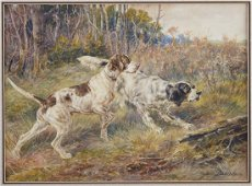 Edmund Osthaus Watercolor Hunting Dogs Setters