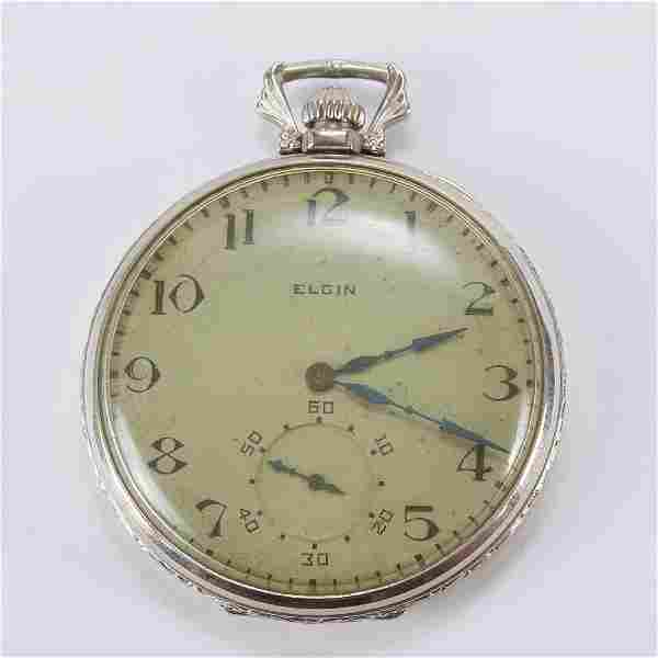 Elgin White Gold Pocket Watch w/ Keystone Case 17